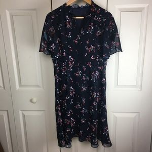 Floral Short A-Line Dress Petal Sleeve Buttoned